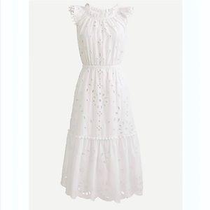 😍🤩 NEW J. Crew White Cotton Eyelet Midi Dress